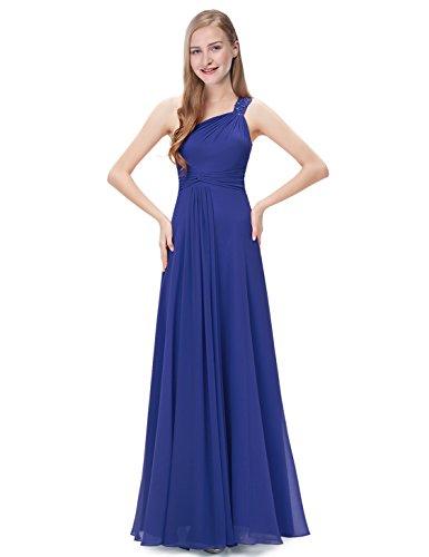 Ever Pretty Robe de soirée en une épaule avec diamant synthétique 08034 Bleu Saphir