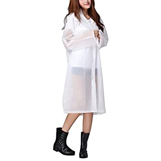 AMSS Quality Smooth Soft translucent Plastic PVC Vinyl Hooded Raincoat Womens Mens Unisex Waterproof Full Length Coat