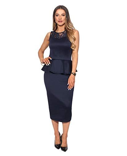 KRISP 3283-NVY-20, Robe Femme Soirée Soirée Sexy Grandes Tailles Pas Cher, Bleu Marine (3283), 48