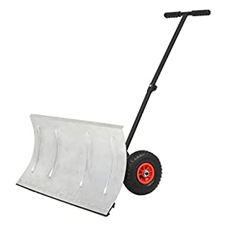 vidaXL Manual Snowplough with Wheels 100x44cm Lawn Snow Blower Shovel Removal
