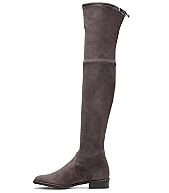 eca68ada753 Image Unavailable. Image not available for. Colour  Jushee Knee High Boots  for Women Round Toe Thigh High Over The Knee Boots Stretch Suede