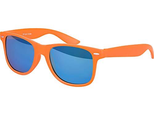 Balinco Hochwertige Nerd Sonnenbrille Rubber im Wayfarer Stil Retro Vintage Unisex Brille mit Federscharnier - 96 verschiedene Farben/Modelle wählbar (Orange - Blau verspiegelt)
