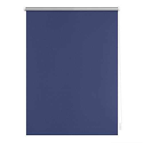 Lichtblick Verdunklungsrollo Klemmfix, 100 cm x 150 cm (B x L) in Blau, ohne Bohren, Sonnen-, Sicht-, Hitze- & Kälte-Schutz, reflektierende Thermo-Rollo Funktion, Verdunkelung für Fenster & Türen