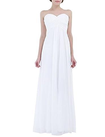 TiaoBug Robe de Soirée Femme Robe de Mariage d'honneur Robe de Bal en Mousseline de Soie Robe Bustier Plissé Sans Bretelle Jupe Longue Robe de Mariée Blanc 8