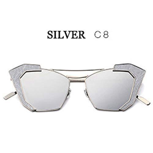 ZRTYJ Sonnenbrillen Erhöhen Sie Perspective Lens Sonnenbrillen Für Frauen Vintage Cat Eye Designer Edelstahl Spiegel Gläser
