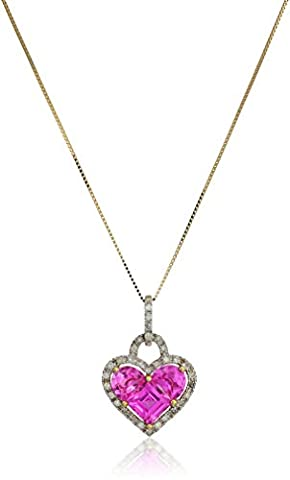 10k Yellow Gold Created Pink Sapphire and Diamond Heart Pendant Necklace (1/5 cttw, J-K Color, I2-I3 Clarity), 18
