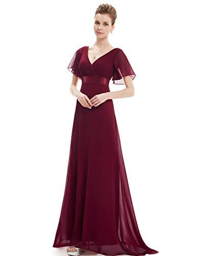 dd90cae55 Ever-Pretty Vestido de Noche Largo Mangas Cortas Cuello en V Gasa Mujer  borgoña.