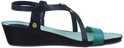 Kickers Taste, Sandales Bout Ouvert Femme Bleu (Marine Bleu Lagon)