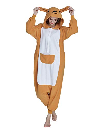Pyjamas Bekleidung Animal Erwachsene Unisex Schlafanzüge Karneval Onesies Cosplay Jumpsuits Anime Carnival Spielanzug Kostüme Weihnachten Halloween Nachtwäsche Jungen Känguru (Kostüm Panda Jugend)