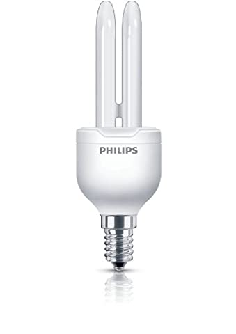 Philips Economy Compact Fluorescent Stick E14 Small Edison Screw Light Bulb, 8 W (42 W Equivalent, 6000 Hours) - Warm White