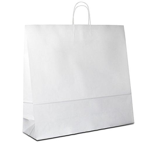 50 x Papiertragetaschen weiss 54+15x49 cm | stabile Papiertüten | Paper Bag Kordelhenkel | Papiertaschen Groß | Beutel | HUTNER