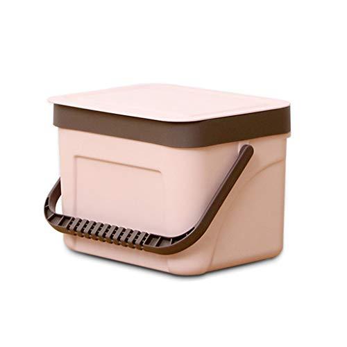 BTPDIAN Wand-Mülleimer, Küche Haushalts-Mülleimer mit Deckel Mülleimer mit Griff 7L / 12L Kunststoff-Mülleimer Wohnzimmer Mülleimer (Farbe : Rosa, größe : 12L)