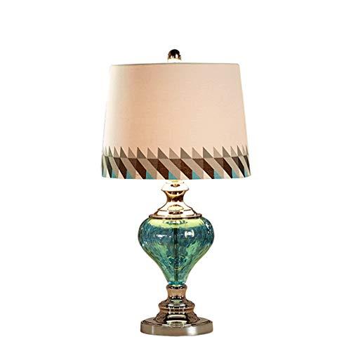 QFF Blaue Glas Tischlampe, PVC Lampenschirm dekorative Tischlampe Wohnzimmer Ausstellungshalle Schlafzimmer Leselampe E27 warm (größe : 34 * 34 * 61CM) - Blau Dekorative Glas
