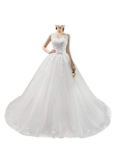 besbomig Brautkleid Damen V-Ausschnitt Ärmellos A Linie Spitze Lang Hochzeitskleider - koreanische...