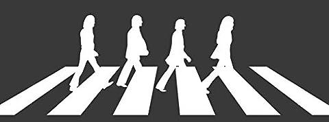 Wandaufkleber aus Vinyl, Beatles überqueren Straße, Maße: ca. 95x30cm,Weiß (Avery Dennison Vinyl)