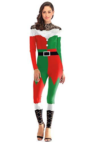 MingoTor Erwachsene Weihnachten Onesies Weihnachtsbaum Sleepsuit Unisex Santa Claus Overall Halloween Kostüm Cosplay Jumpsuit Grün/Rot - Santa Overall Für Erwachsene Kostüm