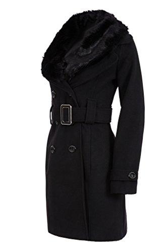 Laeticia Dreams Damen Winter Mantel Fleece Mantel mit Pelz XS S M L XL XXL, Farbe:Schwarz;Größe:40 -
