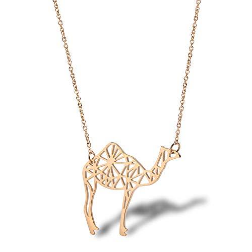 Desert Camel Halskette Damen Schlüsselbein Kette Titan Stahl ZubehörRoségold -