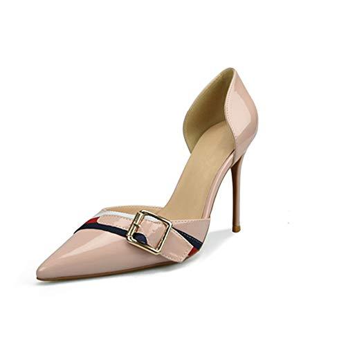 QISTAR Dress Pump Stilvolle Classy Elegant D'orsay Pumps für Damen Hohe Stiletto Heels Side Cut Decor mit Gürtel Spitz Sexy Schuhe für Damen (Color : Nude 8 cm Heel, Size : 35 EU) Classy Dress Pump