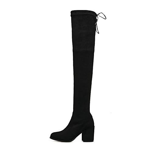 Womens Thigh High Square Heel Stretch High Heels Evening High Heel Boots,Black-EU:38=7.5B(M) US