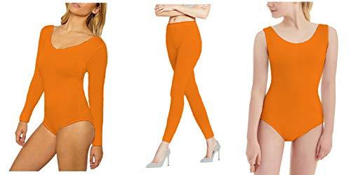 RSVH Mädchen Kinder Ballett Dance Gymnastik glänzend Nylon Lycra Leggings Gymnastikanzug Pack 7-8Jahre Neon-Orange
