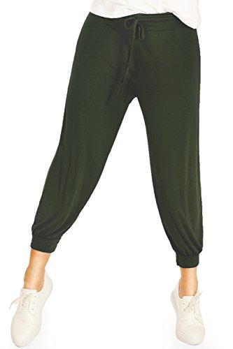 Bestyledberlin Pantalon de sport femme, jogging boufant Olive
