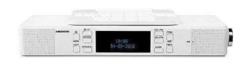 MEDION P66550 Bluetooth DAB+ Küchen-Unterbauradio (2 x 30 Watt, LED-Lichtleiste, PLL UKW, AMS, Freisprechfunktion) weiß