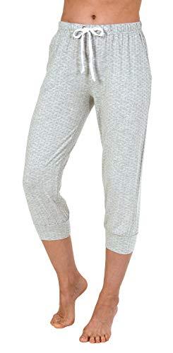 NORMANN WÄSCHEFABRIK Damen Capri Pyjama Hose ¾-lang - Mix & Match - Minimal-Print 191 223 90 904, Farbe:grau, Größe2:36/38 -