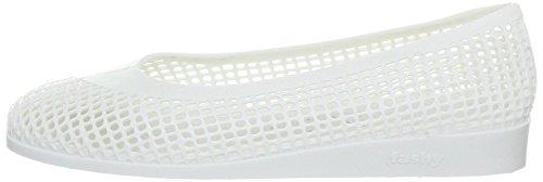fashy® Damen Ballerina-Slipper mit Keilabsatz ideal für Strand und Freizeit in Weiß oder Gold-Glitzer erhältlich - (Made In Germany) Weiß