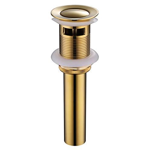 SEIDO Waschbecken Pop Up Ablaufstopfen mit Überlauf, Standardlocharmatur, 3,8 cm, kein Auslaufen, Badewannen-Ablaufgarnitur, Gold-Finish -