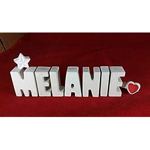 Beton, Steinguss Buchstaben 3 D Deko Schriftzug Namen MELANIE als Geschenk verpackt! Ein ausgefallenes Geschenk zur…