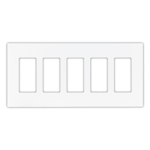 Gang White Decorator (Cooper Wiring Devices PJS265W Decorator Screwless Wallplate, 5-Gang, White by Cooper Wiring Devices)