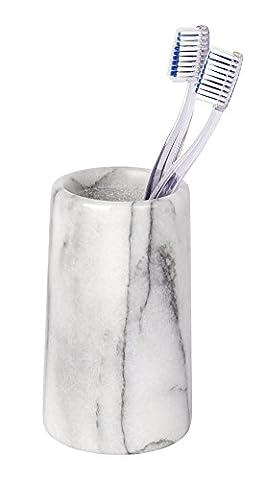 WENKO 22523100 Zahnputzbecher Onyx - Zahnbürstenhalter für Zahnbürste und Zahnpasta, Marmor, 7 x 12,5 x 7 cm, weiß