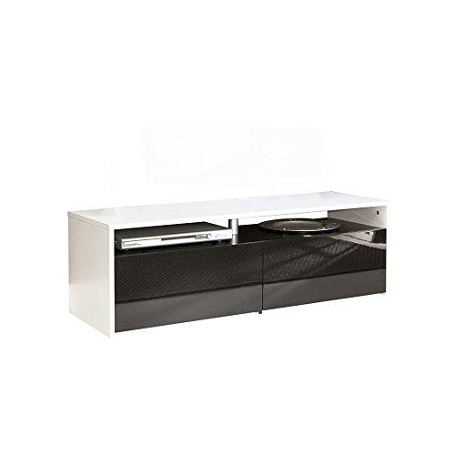 Symbiosis 3030A0212L00 Meuble TV avec 2 Tiroirs Bois Blanc/Laque/Noir 119,4 x 37 x 40 cm