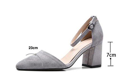 OL Pompe Scrub di nozze Cinghie di caviglia Peep Toe Chunky Mid Heel Donne Scarpe casuali UE Taglia 34-39 Grey