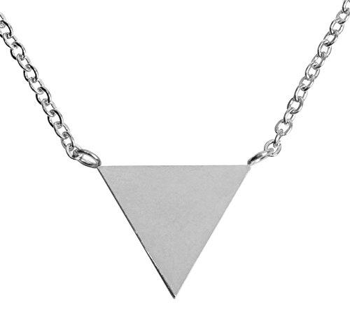 styleBREAKER Edelstahl Halskette mit Dreieck Anhänger, Ankerkette, Karabiner Verschluss, Kette, Schmuck, Damen 05030037, Farbe:Silber