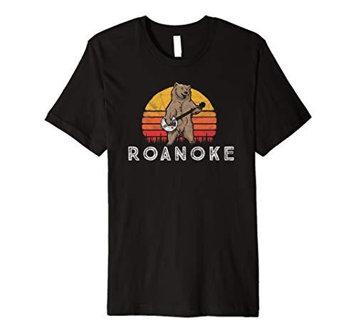 Roanoke Virginia Bluegrass Banjo Bear Funny Retro T-Shirt