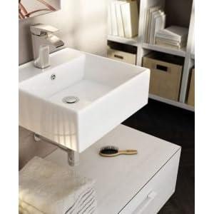 ART&BATH Lavabo SUSPENDIDO Libra Blanco 410X410X150 (NO Incluye Mueble). Juego de Sujección Incluido.