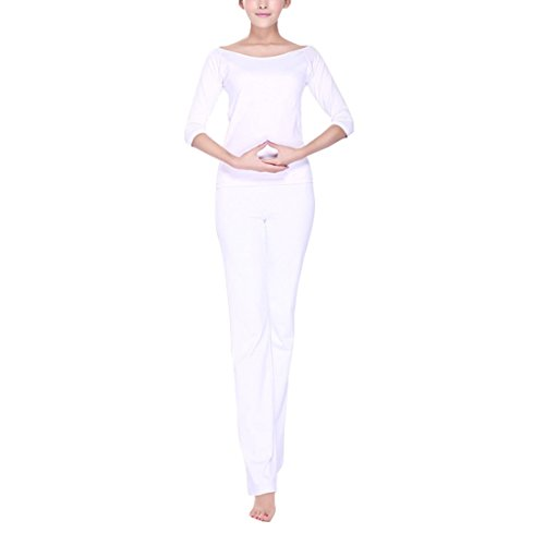 Sidiou Group Modal Yoga passt exquisite Mesh zurück Yoga passt modischen Sportanzug Yoga Tanzanzug (Weiß, S)