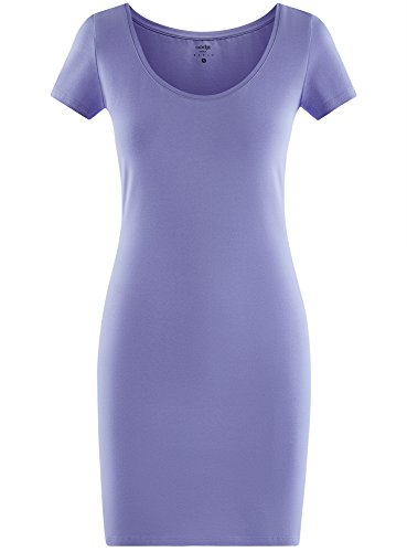 oodji Ultra Damen Enges Jersey-Kleid Violett (8000N)