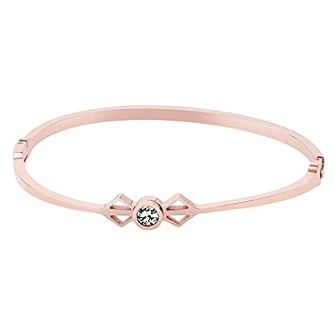 AnaZoz Bracelet Cuff Acier Inoxydable pour Femme Open Square and Round Cubic Zirconia Or Rose