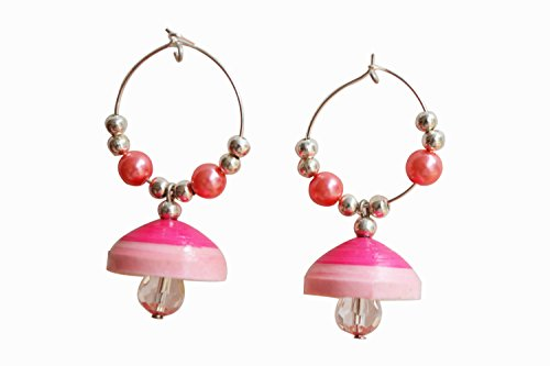 Kaagitham Pink quilled hoop paper jewelry jhumki with beads for women