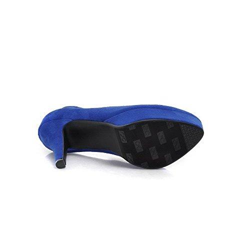 AllhqFashion Damen Ziehen Auf Hoher Absatz Nubukleder Rein Rund Zehe Pumps Schuhe Blau