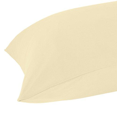 Homescapes Seitenschläferkissen Bezug 50 x 140 cm, vanille aus 100% reiner ägyptischer Baumwolle, Fadendichte 200, waschbar bis 60 Grad