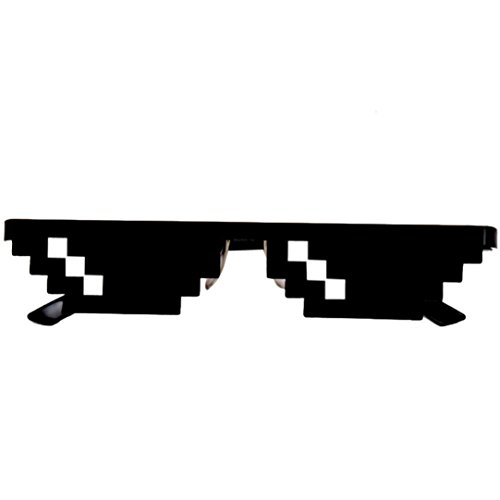 Rawdah vetri di vita di thug 8 bit pixel deal con occhiali da sole it occhiali da sole unisex toy thug life glasses 8 bit pixel deal with it sunglasses unisex sunglasses toy (nero (a))