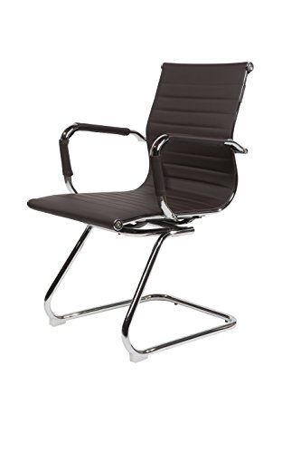 SVITA Design Bürostuhl Chrom Rahmen Elegance Chefsessel Drehstuhl Konferenz-Stuhl (Braun,...