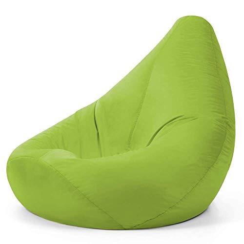 Bean Bag Bazaar Außensitzsack mit Hohem Rückenteil, Hellgrün, Gartensitzsack Wasserabweisend, Gaming Sitzsack