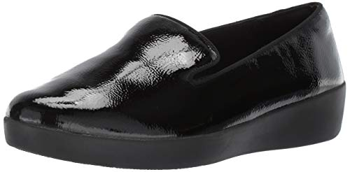 Fitflop Audrey Crinkle Patent Smoking Slippers, Mocassini (Loafer) Donna, Nero (Black 001), 39 EU