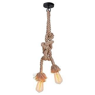 Lampada a sospensione con corda di canapa, CA 220 V E 27, (luci doppie, luce singola). Non include lampadine e interruttore (lunghezza della corda di canapa:1 m, 1,5 m, 2 m, 2,5 m, 4 m).