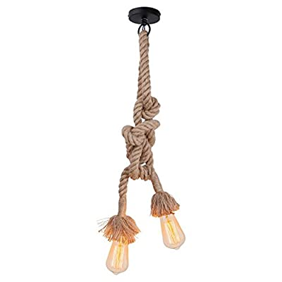 Lampada a sospensione retro vintage in corda di canapa AC220V E27 per soggiorno bar luoghi pubblici, come decorazione rustica(1m(50cm + 50cm) Doppia presa) (senza lampadina)